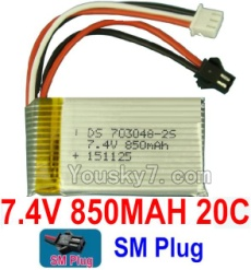7.4V Battery 09-02 7.4V 850mah 20C Battery with Black SM Plug-703048