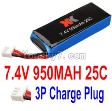 7.4V Battery 10-01 7.4V 950mah 25C Battery with 3P Charge plug Plug-For XK X251 Drone