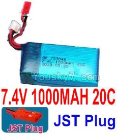 7.4V Battery 11-01 7.4V 1000MAH Battery With Red JST Plug-753048