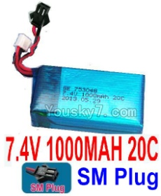 7.4V Battery 11-02 7.4V 1000MAH Battery With Black SM Plug-753048