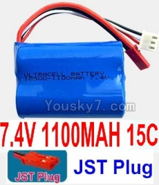 7.4V Battery 12-01 7.4V 1100mah 15C Battery with Red JST Plug-18500