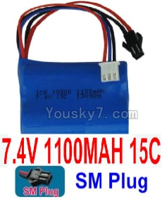 7.4V Battery 12-02 7.4V 1100mah 15C Battery with 2P SM Plug-18500
