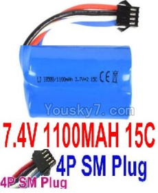 7.4V Battery 12-03 7.4V 1100mah 15C Battery with 4P SM Plug-18500