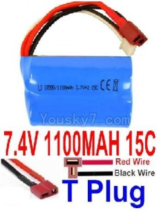 7.4V Battery 12-06 7.4V 1100mah 15C Battery with T Plug Plug-18500(Horizontal shaft-Red Wire,Verticall shaft-Black wire)