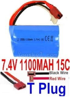 7.4V Battery 12-07 7.4V 1100mah 15C Battery with T Plug Plug-18500(Horizontal shaft-Black Wire,Verticall shaft-Red wire)