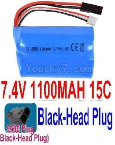7.4V Battery 12-08 7.4V 1100mah 15C Battery with 5500 Black Head Plug-18500
