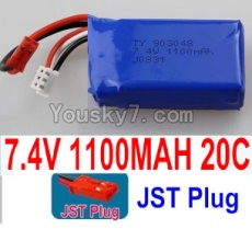 7.4V Battery 13-01 7.4V 1100mah 20C Battery with Red JST Plug-903048