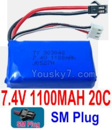 7.4V Battery 13-02 7.4V 1100mah 20C Battery with Black SM Plug-903048