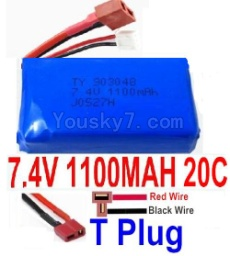 7.4V Battery 14-05 7.4V 1100mah 20C Battery with Yellow Oda Palace Plug-903048(Horizontal shaft-Red Wire,Verticall shaft-Black wire)
