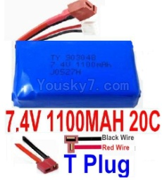 7.4V Battery 14-06 7.4V 1100mah 20C Battery with Yellow Oda Palace Plug-903048(Horizontal shaft-Black Wire,Verticall shaft-Red wire)