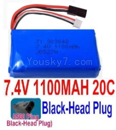 7.4V Battery 14-07 7.4V 1100mah 20C Battery with 5500 Black Head Plug-903048