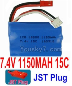 7.4V Battery 15-01 7.4V 1150mah 15C Battery with Red JST Plug-18500