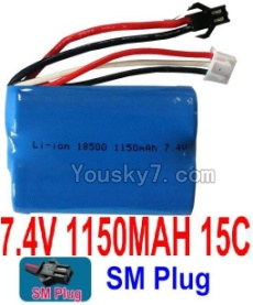 7.4V Battery 15-02 7.4V 1150mah 15C Battery with Black 2P SM Plug-18500