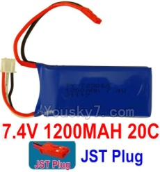 7.4V Battery 16-01 7.4V 1200mah 20C Battery with Red JST Plug-723060