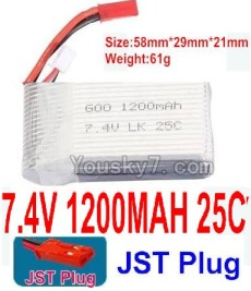 7.4V Battery 17-01 7.4V 1200mah 25C Battery with Red JST Plug-Version 2