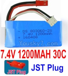 7.4V Battery 18-01 7.4V 1200mah 30C Battery with Red JST Plug-803060