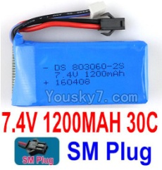 7.4V Battery 18-02 7.4V 1200mah 30C Battery with Black SM Plug-803060
