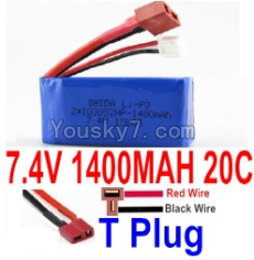 7.4V Battery 19-01 7.4v 1400mah 20C Battery with T Plug-103052(Horizontal shaft-Red Wire,Verticall shaft-Black wire)