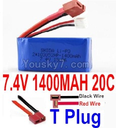 7.4V Battery 19-02 7.4v 1400mah 20C Battery with T Plug-103052(Horizontal shaft-Black Wire,Verticall shaft-Red wire)