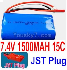 7.4V Battery 20-01 7.4V 1500mah 15C Battery with Red JST Plug-18650