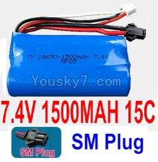 7.4V Battery 20-02 7.4V 1500mah 15C Battery with Black 2P SM Plug-18650
