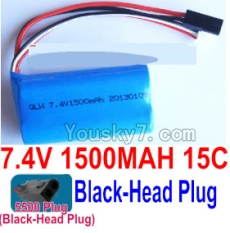 7.4V Battery 20-04 7.4V 1500mah 15C Battery with 5500 Black Head Plug-18650
