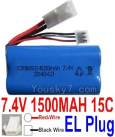7.4V Battery 20-07 7.4V 1500mah 15C Battery with White 2P EL Plug-18650(Red wire-Round Hole,Black Wire-Square Hole)