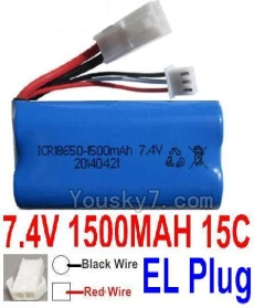 7.4V Battery 20-08 7.4V 1500mah 15C Battery with White 2P EL Plug-18650(Red wire-Square Hole,Black Wire-Roud Hole)