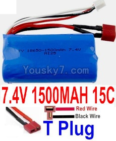 7.4V Battery 20-09 7.4V 1500mah 15C Battery with T Plug-18650(Horizontal shaft-Red Wire,Verticall shaft-Black wire)