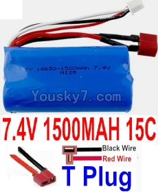 7.4V Battery 20-10 7.4V 1500mah 15C Battery with T Plug-18650(Horizontal shaft-Black Wire,Verticall shaft-Red wire)