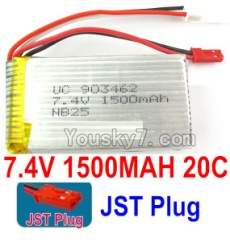7.4V Battery 24-01 7.4V 1500mah 20C Battery with Red JST Plug-903462