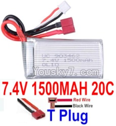 7.4V Battery 24-07 7.4v 1500mah 20C Battery with T Plug-903462(Horizontal shaft-Red Wire,Verticall shaft-Black wire)
