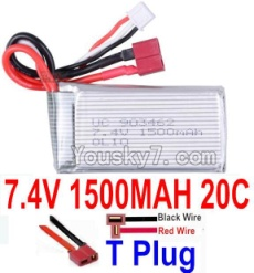 7.4V Battery 24-08 7.4v 1500mah 20C Battery with T Plug-903462(Horizontal shaft-Black Wire,Verticall shaft-Red wire)