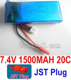 7.4V Battery 28-01 7.4V 1500MAH 20C Battery with Red JST Plug