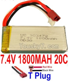 7.4V Battery 34-01 7.4V 1800mah 20C Battery with T Plug-903472(Horizontal shaft-Red Wire,Verticall shaft-Black wire)