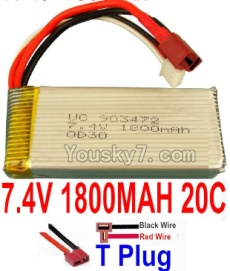 7.4V Battery 34-02 7.4V 1800mah 20C Battery with T Plug-903472(Horizontal shaft-Black Wire,Verticall shaft-Red wire)