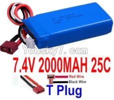 7.4V Battery 44-01 7.4v 2000mah 25C Battery with T Plug-903475(Horizontal shaft-Red Wire,Verticall shaft-Black wire)