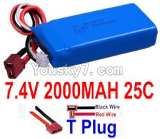 7.4V Battery 44-02 7.4v 2000mah 25C Battery with T Plug-903475(Horizontal shaft-Black Wire,Verticall shaft-Red wire)