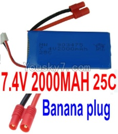 7.4V Battery 44-03 7.4v 2000mah 25C Battery with Banana Plug-903475
