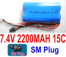 7.4V Battery 55-02 7.4v 2200mah 15C Battery with Black SM Plug