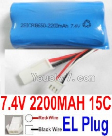 7.4V Battery 55-05 7.4V 2100mah 15C Battery with 2P EL Plug-For FT009 Boat(Red wire-Square Hole,Black Wire-Roud Hole)