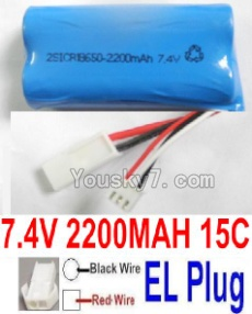 7.4V Battery 55-06 7.4V 2100mah 15C Battery with 2P EL Plug-(Red wire-Round Hole,Black Wire-Square Hole)