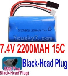 7.4V Battery 55-07 7.4V 2200mah 15C Battery with 5500 Black Head Plug