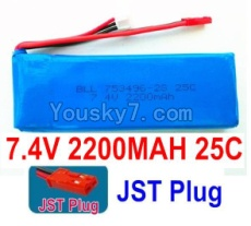 7.4V Battery 59-01 7.4v 2200mah 25C Battery with Red JST Plug-753496