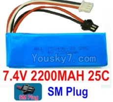 7.4V Battery 59-02 7.4v 2200mah 25C Battery with Black SM Plug-753496