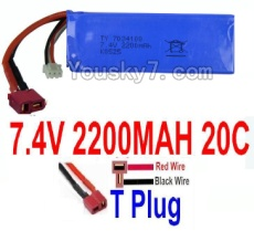 7.4V Battery 61-01 7.4v 2200mah 20C Battery with T Plug-7034100(Horizontal shaft-Red Wire,Verticall shaft-Black wire)