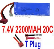 7.4V Battery 61-02 7.4v 2200mah 20C Battery with T Plug-7034100(Horizontal shaft-Black Wire,Verticall shaft-Red wire)