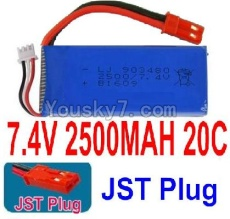 7.4V Battery 66-01 7.4v 2500mah 20C Battery with Red JST Plug-903480