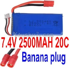 7.4V Battery 66-03 7.4v 2500mah 25C Battery with Banana Plug-903480
