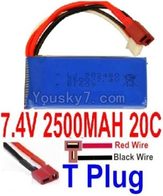 7.4V Battery 66-04 7.4v 2500mah 25C Battery with T Plug-903480(Horizontal shaft-Red Wire,Verticall shaft-Black wire)